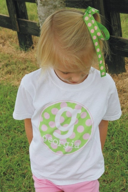 PINK AND LIME MONOGRAM DOTS personalized tshirt or bodysuit