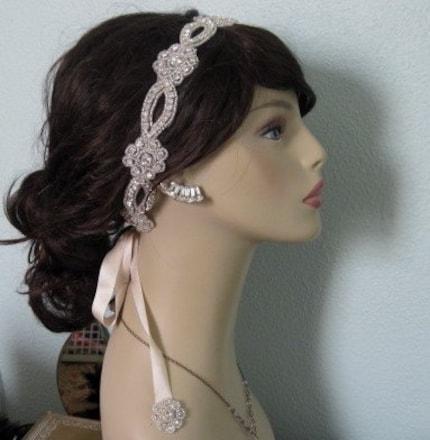 Where to find a crystal ribbon headband wedding headband headpiece Il
