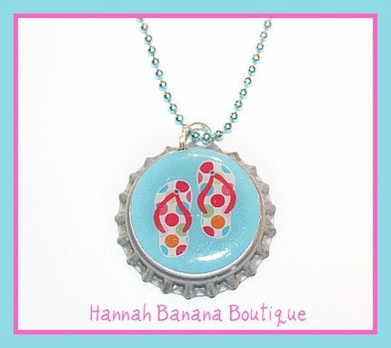 Girls Flip Flop Bottlecap Necklace