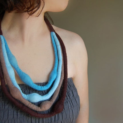 FREE SHIPPING Brown-Blue Multi Strand Felt Necklace