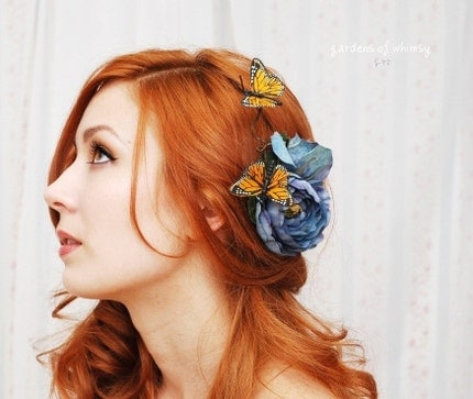 Blue Skies - a whimsical butterfly clip