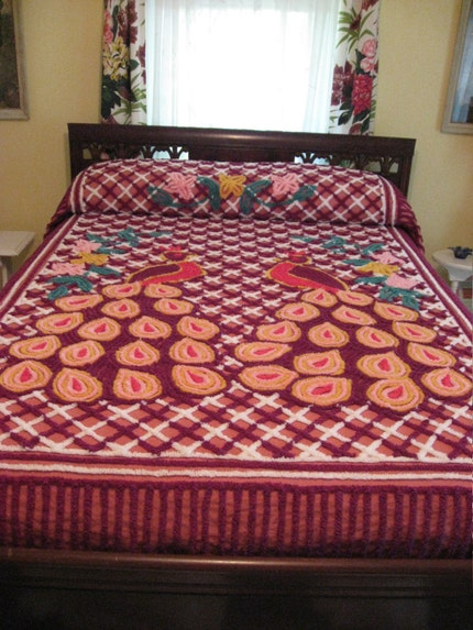 Vintage Chenille Bedspread - Double Peacocks - Berry - Colorful - Heavily Tufted