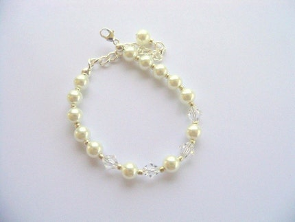 Little Girls Crystals and White Pearls Bracelet