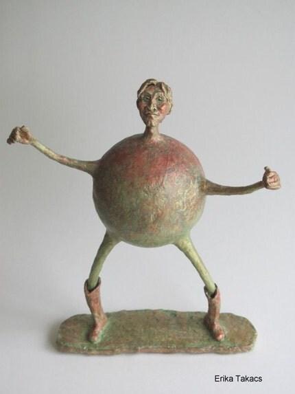 Paper mache whimsical figurine
