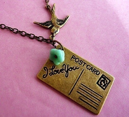 Victorian Postcard Air Mail Love Bird Necklace by MaruMaru on Etsy from etsy.com