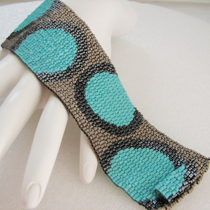 Fashionable Circles in Turquoise and Metals  Peyote Cuff Bracelet (2500)