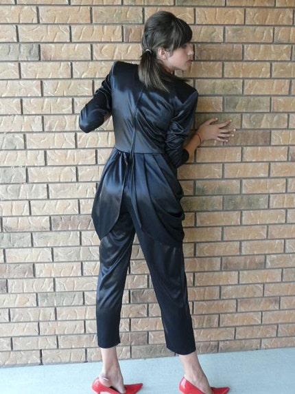 Vintage 80s BRIGITTE IN NEW YORK tuxedo harem jumpsuit (M)