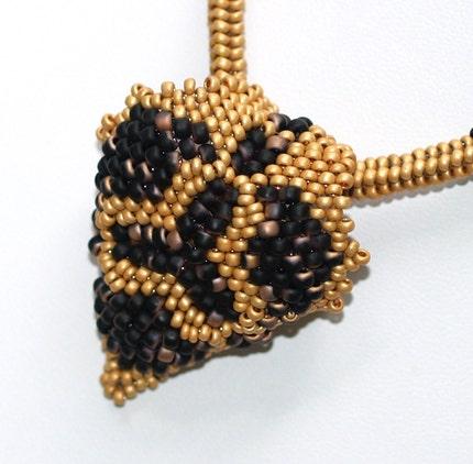 Gilda - Unique Matte Gold and Jet Black Necklace and Pendant (3238)