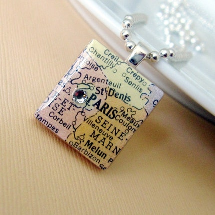 Home Fries Paris Edition  vintage map necklace by 3squares on Etsy from etsy.com