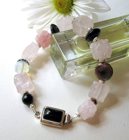pink rose quartz black silver bracelet  by cooljewelrydesign from etsy.com