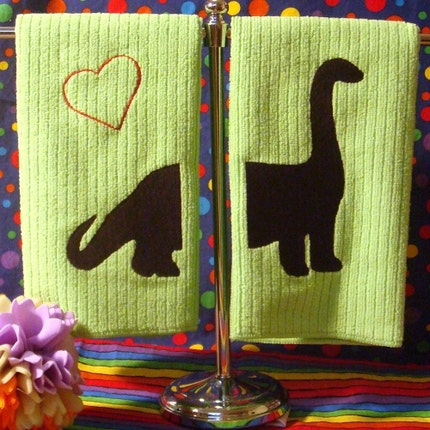 Dino Pal- 2 Towel Set on GREEN