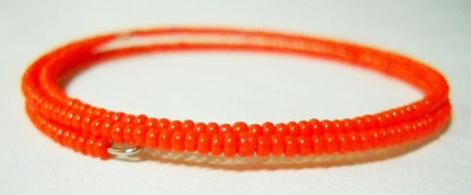 Orange Glass Seed Bead Wrap Around Bracelet