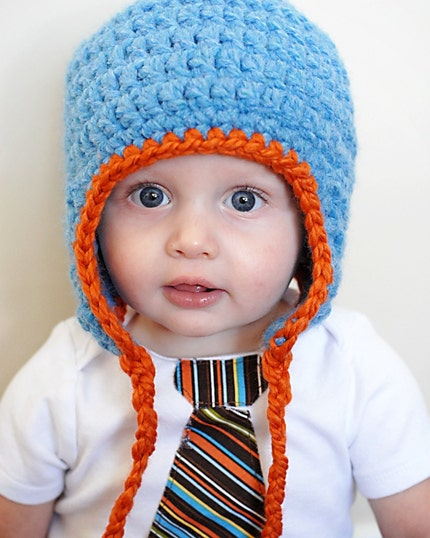 Chunky Earflap Hat and Tie Onesie Set (MANY COLORS TO CHOOSE FROM)