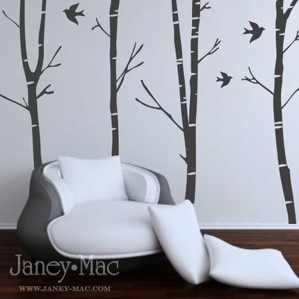 Vinyl Wall Art - Winter Birch Trees with Birds - B106