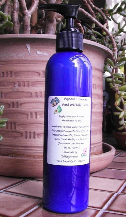 All Natural Hand and Body Lotion - 8 oz. Pump Bottle - Custom Scented, Made With Avocado and Apricot Kernel Oil