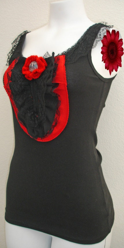 Upcycled Eclipse Tank Top - Black and Red - Ready to Shipped - Free Shipping