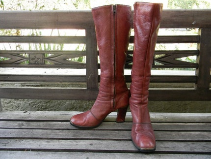 vintage. 70s Etienne Aigner Cognac Color Knee High Boots Size 7.5  FREE US SHIPPING