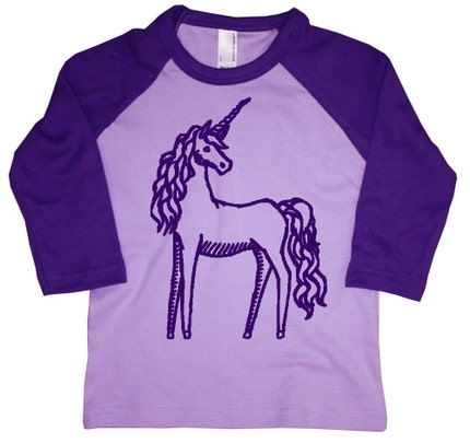 NEW - Magical Unicorn Baby or Toddler Girl Lavender and Purple Kids Long Sleeve Raglan T-Shirt