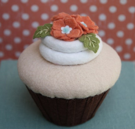 Felt Caramel Cupcake With Pumpkin And Aqua Pansies