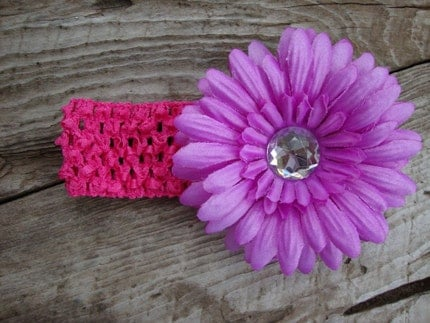 Sassy Children's Pink Crocheted Headband With Purple Jewel Flower