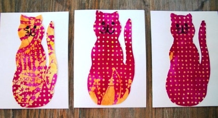 Greeting Cards/ Batik Cats Set of 3