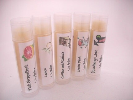 Natural Lip Balm - Winter Mint, Coffee and Kahlua, Strawberry Lime, Pink Grapefruit or Lemon