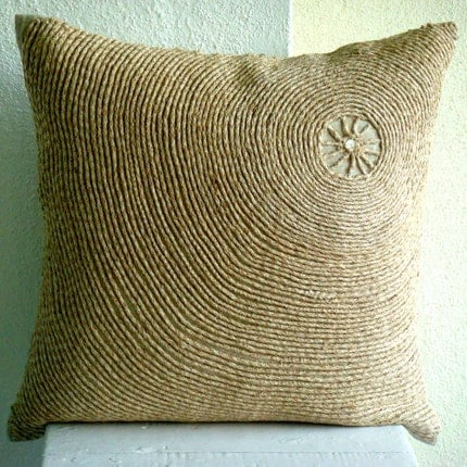 Back To Earth - Throw Pillow Covers - 16x16 Inches Linen Pillow Cover with Jute Embroidery