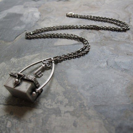 Metal Locket Box Pendant, Antique Silver, Skeleton Key Charm, 28 Inch Chain