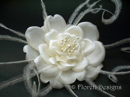 Silk Rose Feather Bridal Hair Flower Accessory Off by floreti from etsy.com