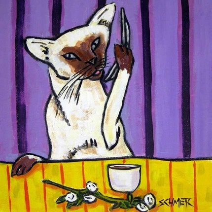 Siamese Cat Talking on a Cell Phone Art Tile Coaster