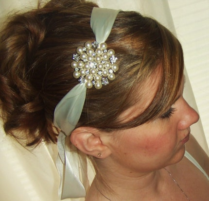 Wedding Hair Piece Pearl Brooch Satin Ribbon Tie