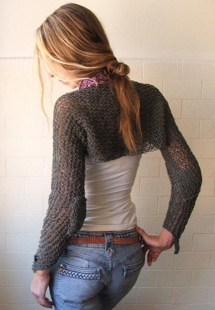 Felted tweed merino Winter long sleeve shrug in slate grey
