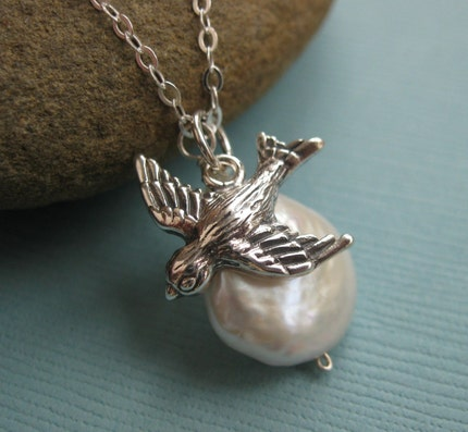 Freedom Necklace, Flying Sterling Silver Etched and Embossed Sparrow with a Freshwater Coin Pearl Drop
