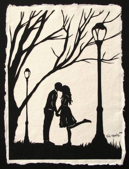 Autumn Kiss - Original papercut Art