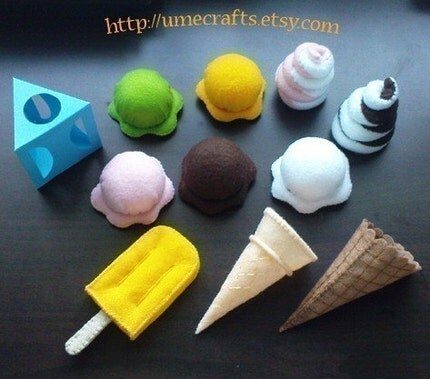 DIY Felt Ice Creams - Popsicle, Ice Cream Cones, Soft Ice Cream (Patterns and Instructions via Email)