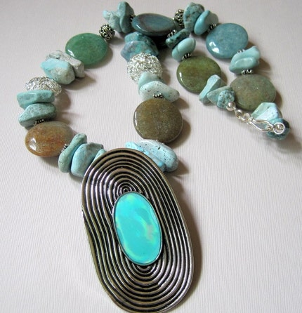 Beachcomber  Rough Turquoise and Agate with by jemsbyjbandcompany from etsy.com
