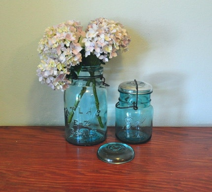 Pair of Blue Canning Mason Jars Wire Tops Ball Ideal Atlas