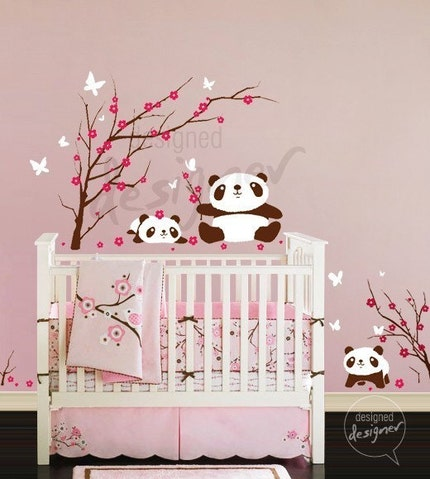 Kid Vinyl Wall Sticker Decal Art- Lovely Pandas Having Fun in Cherry Blossom Field - dd1029