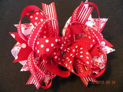 Red and White Boutique Style Extra Large Hair Bow