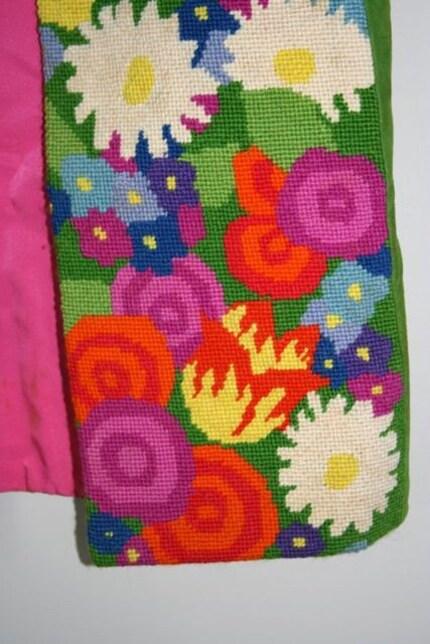 Vintage floral needlepoint vest