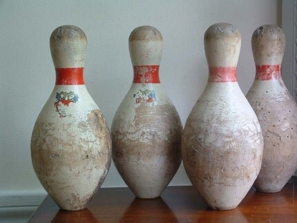 1940s wooden bowling pin
