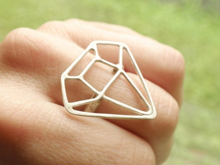 Big Diamond Ring by JeanieAndronyk on Etsy from etsy.com