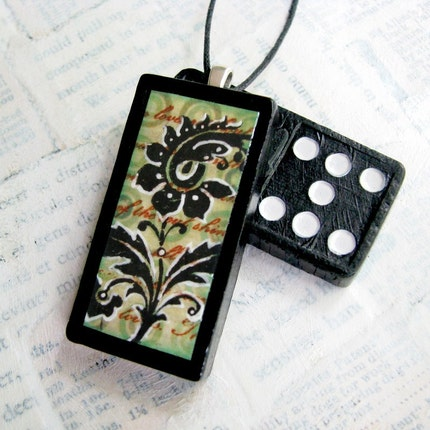 Domino Pendant - Bold Floral Paisley - Altered Domino Pendant