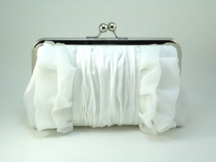 Snow White CHIFFON RUFFLES Clutch
