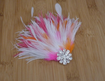 Pink and Orange Feather Fascinator with Rhinestones