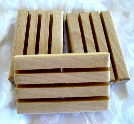 Wooden Soap Dish / Soap Deck -  3 pack