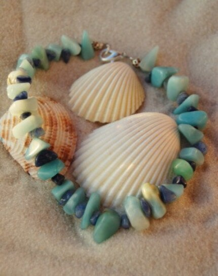 Amazonite and Blue Aventurine Anklet
