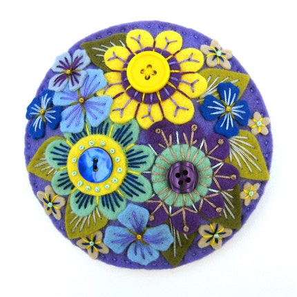LARGE 'ABUNDANCE' FELT BROOCH WITH FREEFORM EMBROIDERY