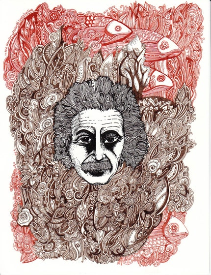 Albert Einstein drawing by Megan Noel
