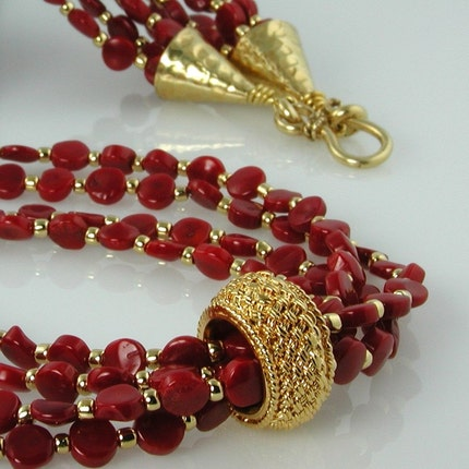 Red Coral and Gold Necklace by Personal Treasures